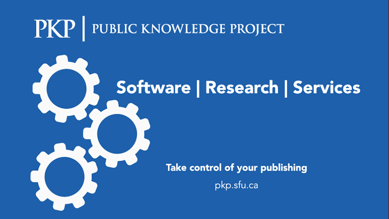 "pkp logo with - ""software, research, services: take control of your publishing"""