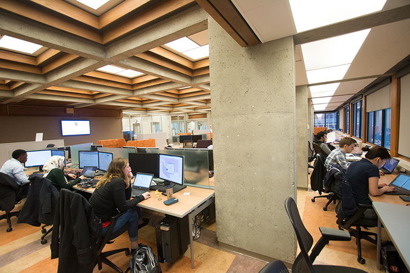 Photograph of the Research Commons showing students working at computers