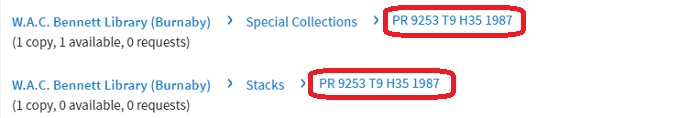 Call numbers in a catalogue record are highlighted with red lines around them