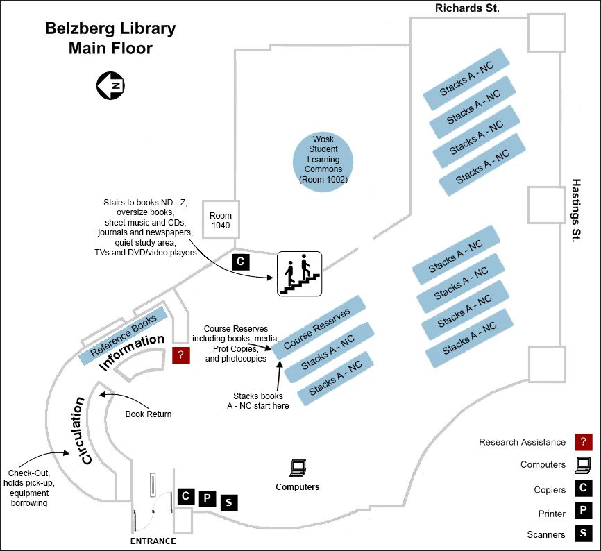 floorplan for belzberg library's main floor