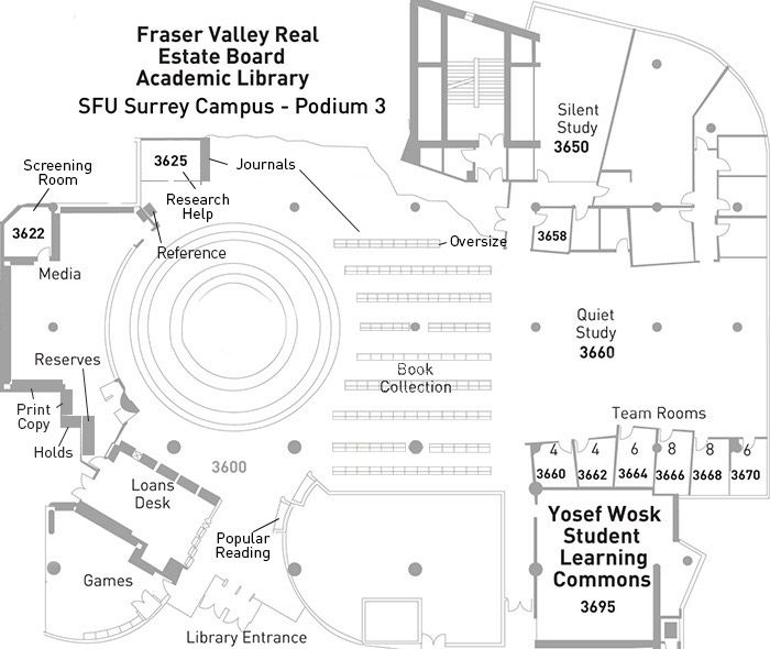 Floor plan of the Fraser Library at SFU Surrey
