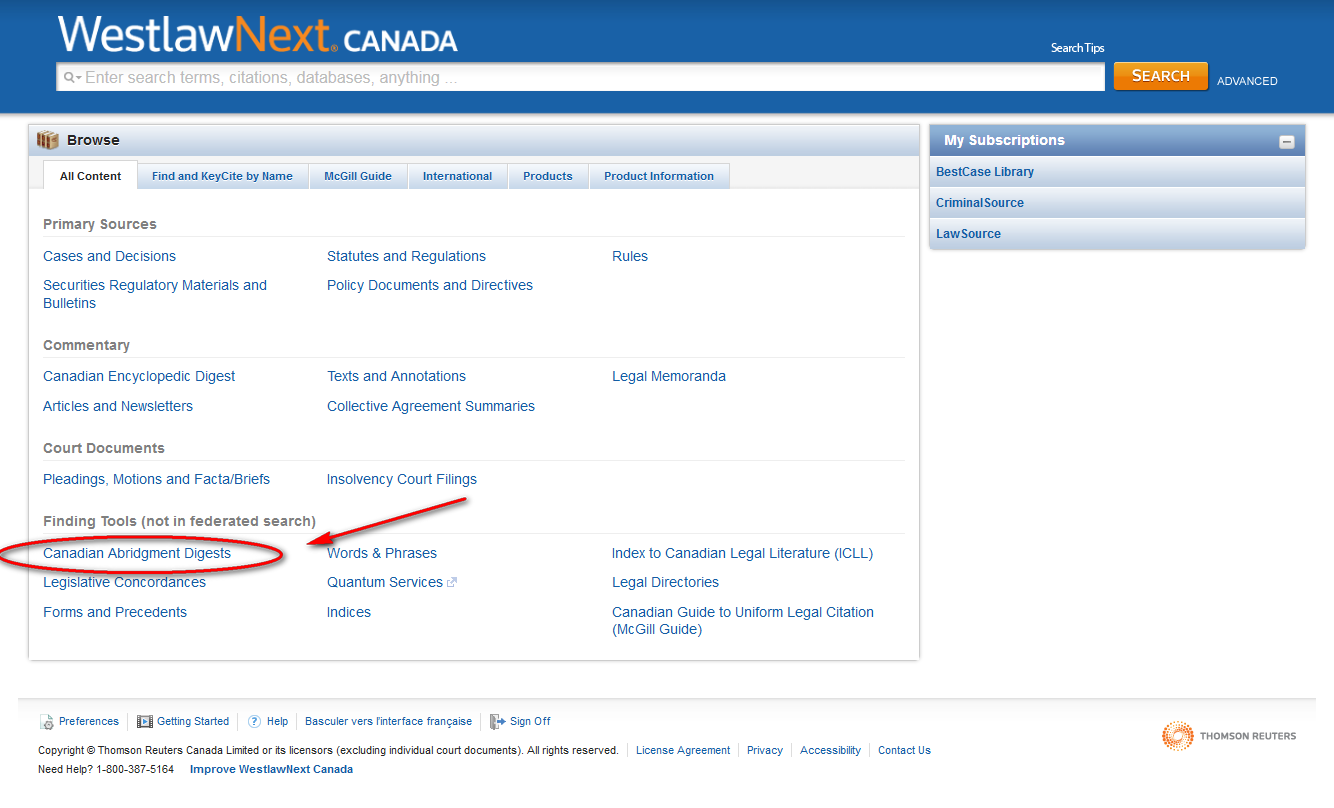 Screen shot of Westlaw search page with arrow pointing to Canadian Abridgment Digest link