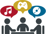 graphic of students talking about music and games