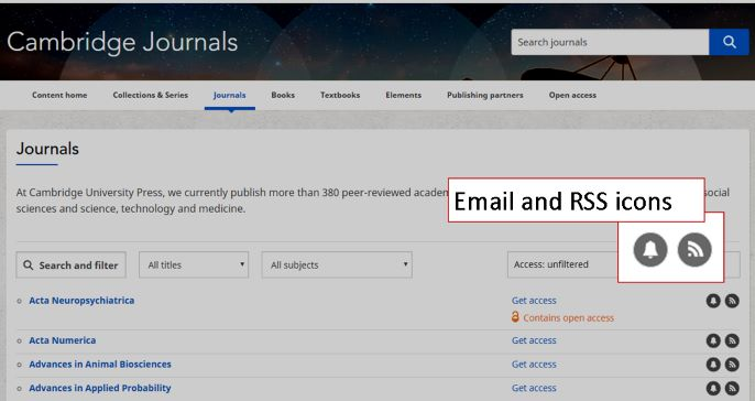 screenshot of the Cambridge Journals website showing the icons for RSS and email alerts