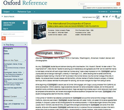 Search results for Merce Cunningham in Oxford Reference International Encyclopedia of Dance