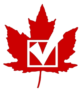 image of maple leaf with voter's check mark on it