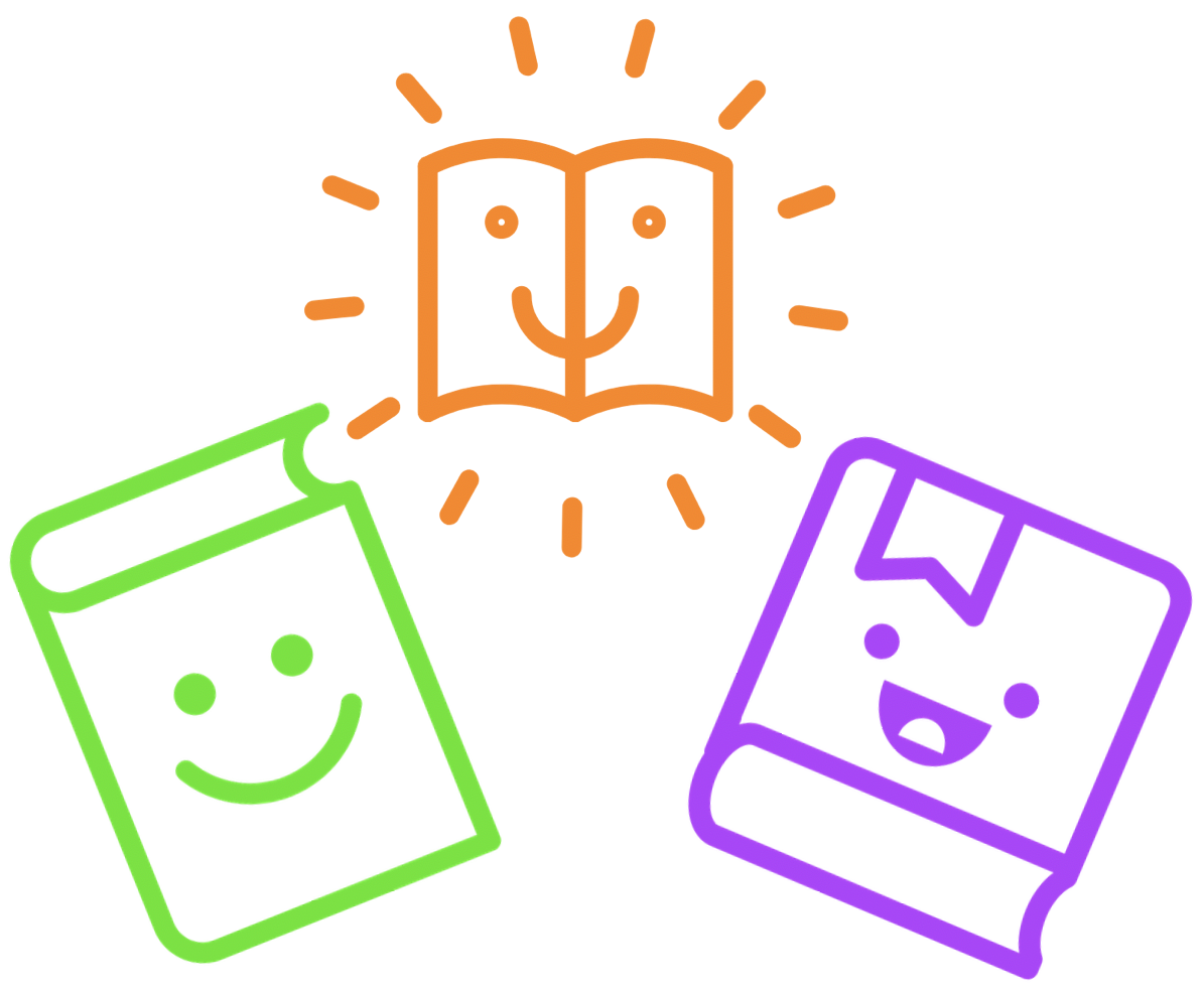colourful line drawing of three books with smiling faces