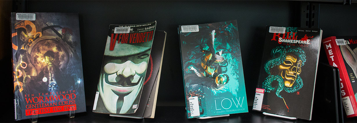 shelf of graphic novels for book display at Bennett Library