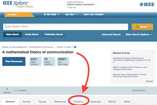 "An arrow points from the article title, ""A mathematical theory of communication,"" to the Citations tab lower on the page."