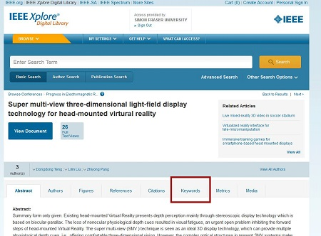 "At page for an article (""Super multi-view three-dimensional light-field display technology for head-mounted virtural [sic] reality""), Keywords tab option is highlighted"