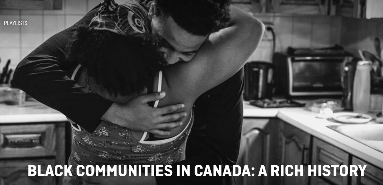 A man and a woman embrace in a kitchen. Text: Black communities in Canada: a rich history.