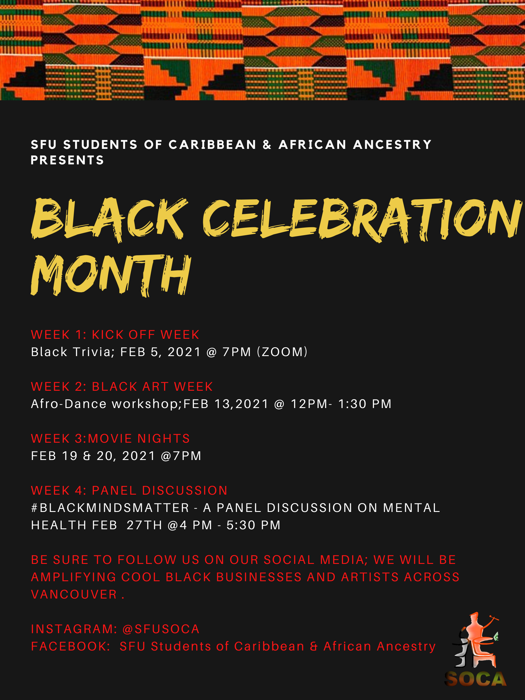 Poster advertising SOCA Black History Month events for 2021