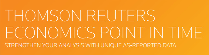 Banner: Thomson Reuters Economics Point in Time: Strengthen Your Analysis With Unique As-Reported Data