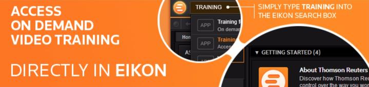 Free webinars & training videos: Thomson Reuters Eikon+