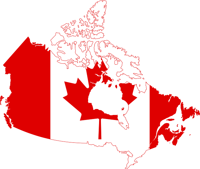image of a map of Canada drawn with the colours and image of our national flag.