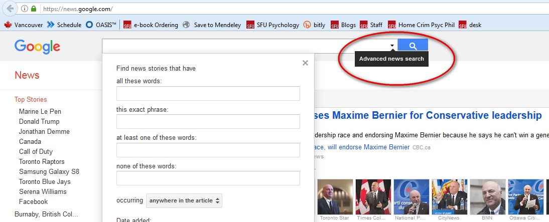 advanced search arrow on google news screen