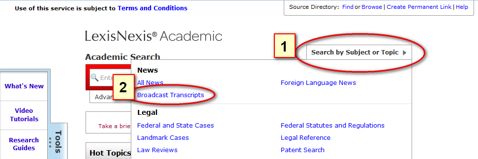 how to find transcripts in lexis nexis
