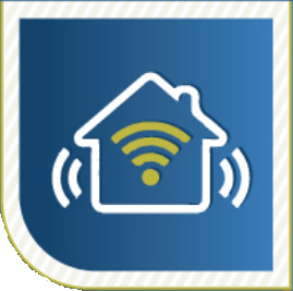 "line drawing of a house with a wifi symbol inside - meant to indicate a ""connected home"""