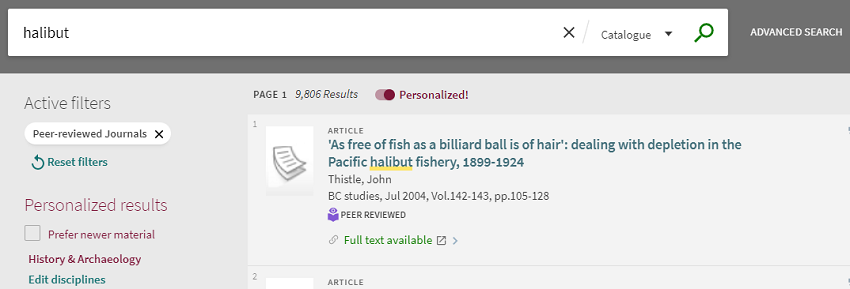 "Search term ""halibut,"" with toggle switch showing Personalized option has been selected."