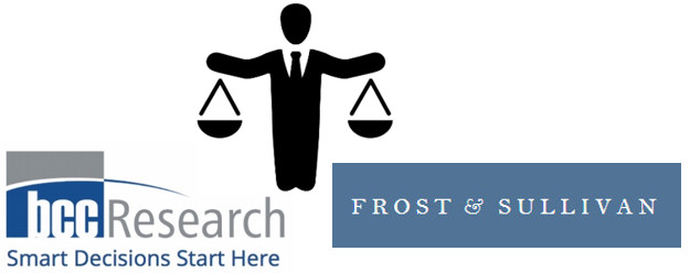 Logos for BCC Research and Frost and Sullivan with a black-and-white image of a business man holding weighing scales between them