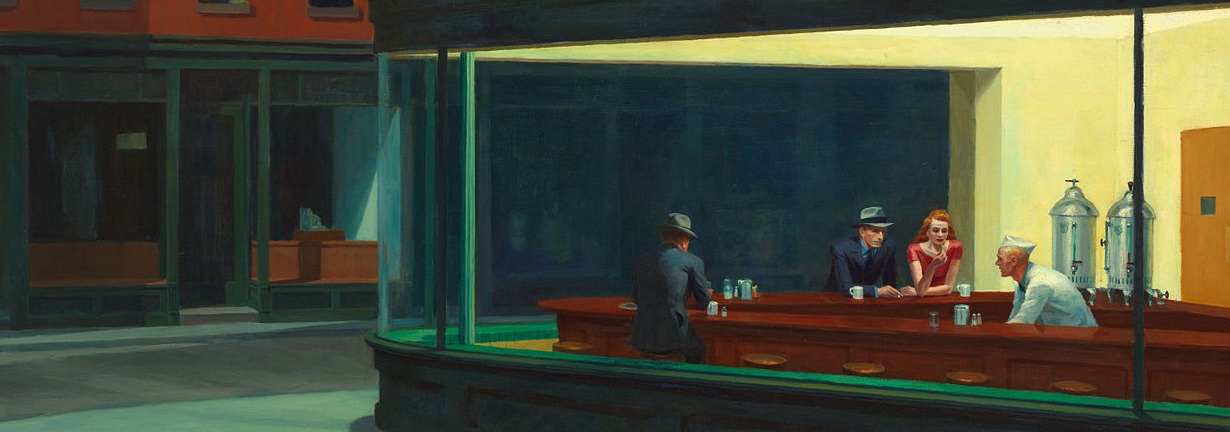 Detail from the painting Nighthawks, by Edward Hopper: people in a diner at night, as seen from outside.