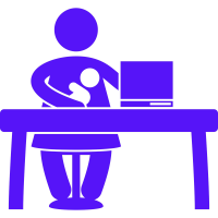 Line drawing of women at a desk with a computer while holding a baby.