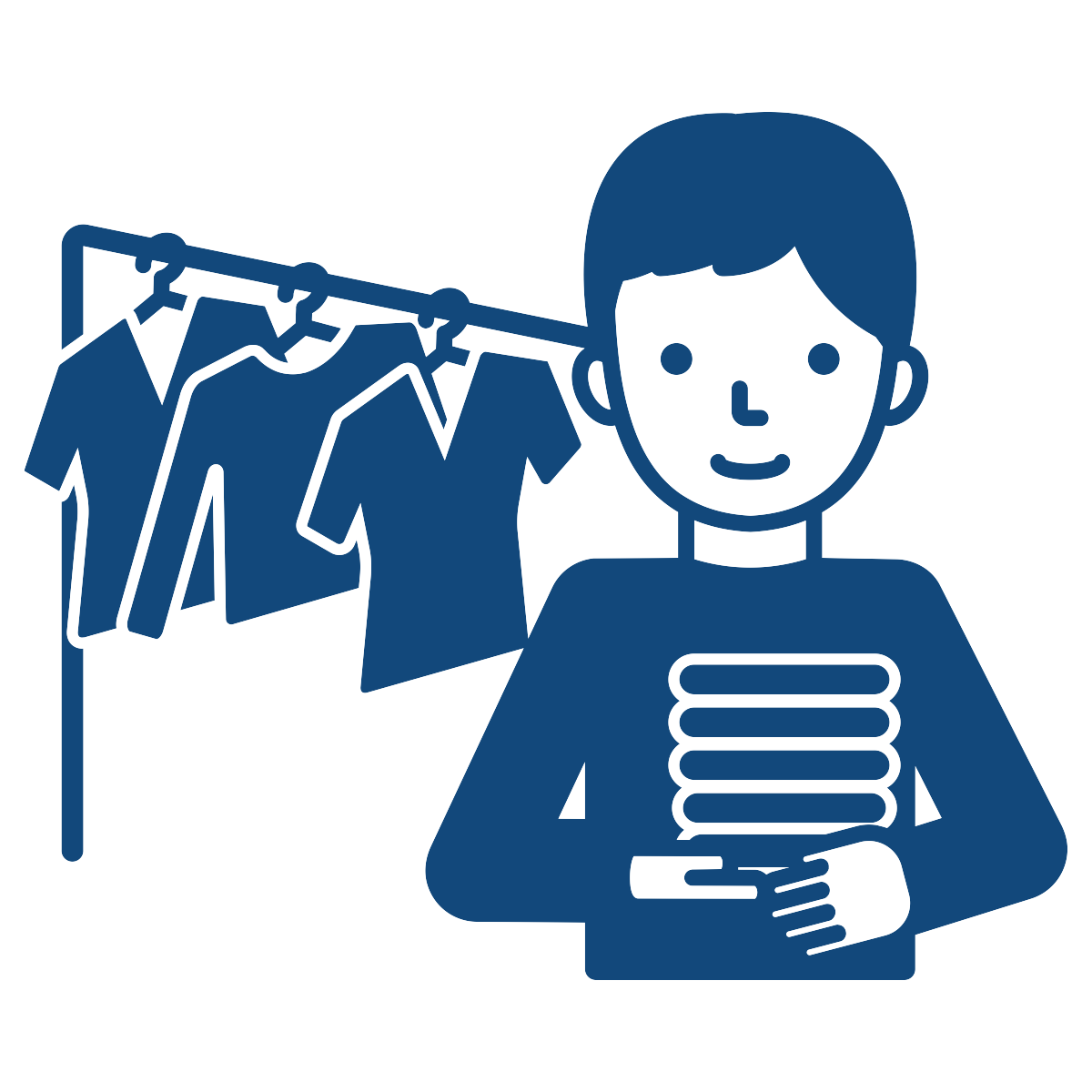 simple drawing of a man standing in front of a clothing rack with shirts hanging on it.