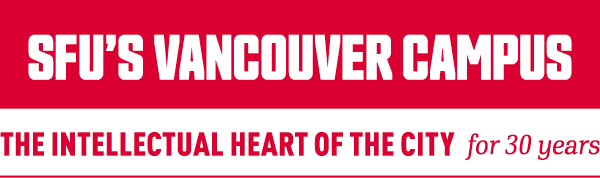 logo for SFU Vancouver's campus with the text: The intellectual heart of the city for 30 years