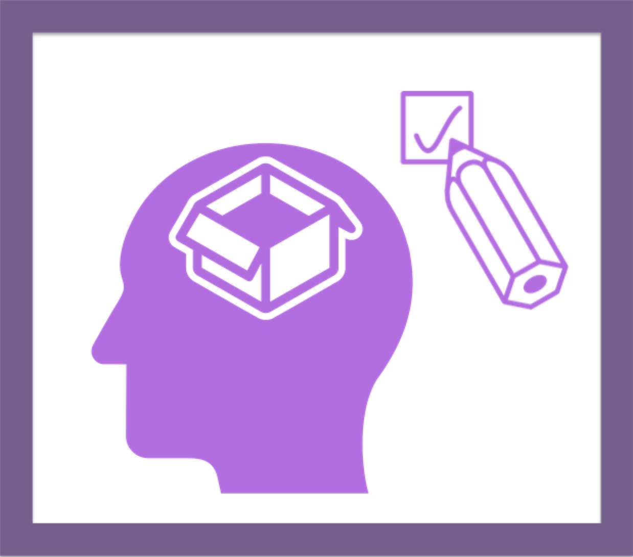 Line drawing of a head with an image of a box inserted, and another image of a pencil checking off a box.