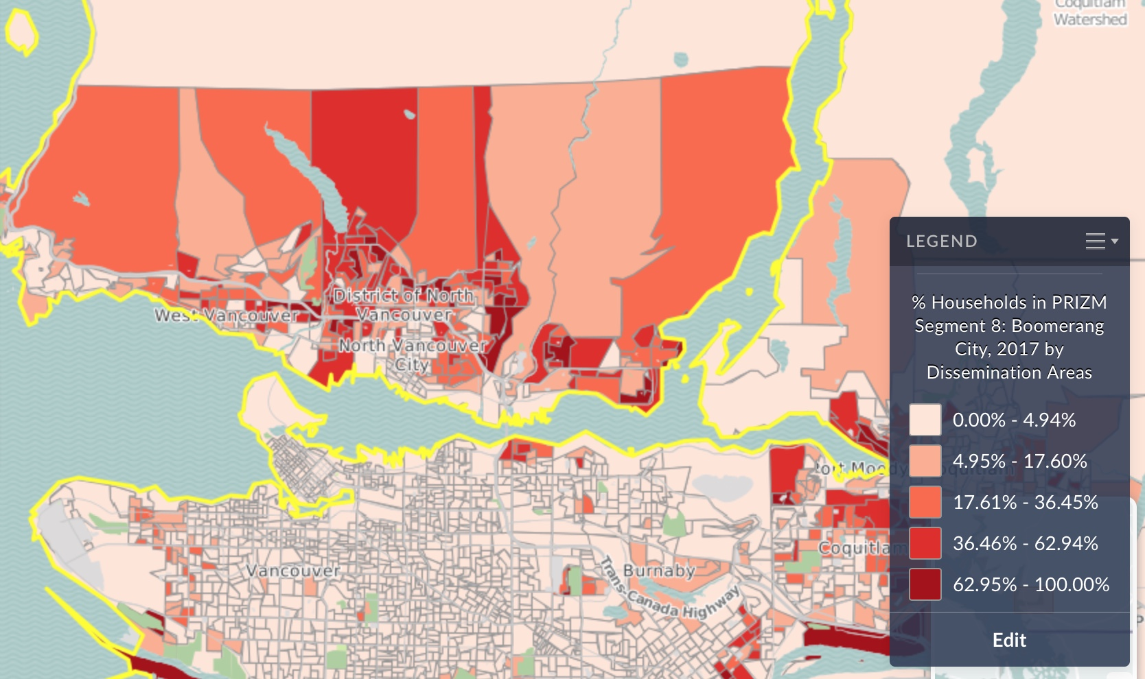 Thumbnail image of a screen capture in SimplyAnalytics. Colour-coded to show Boomerang City clusters in Vancouver