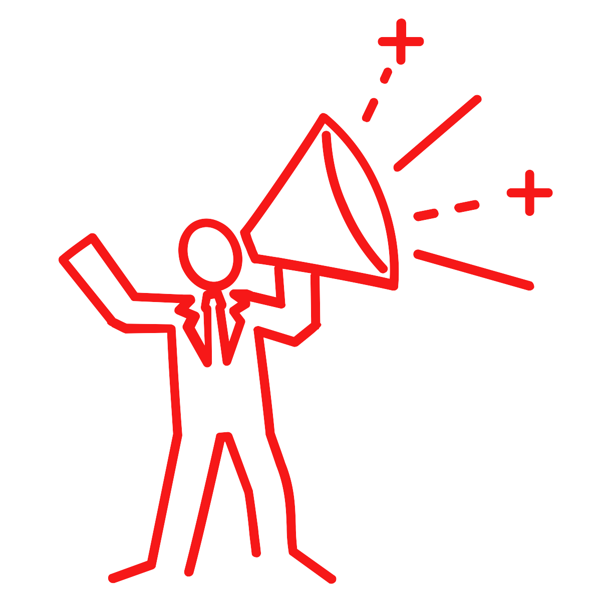 line drawing of a person speaking through a megaphone