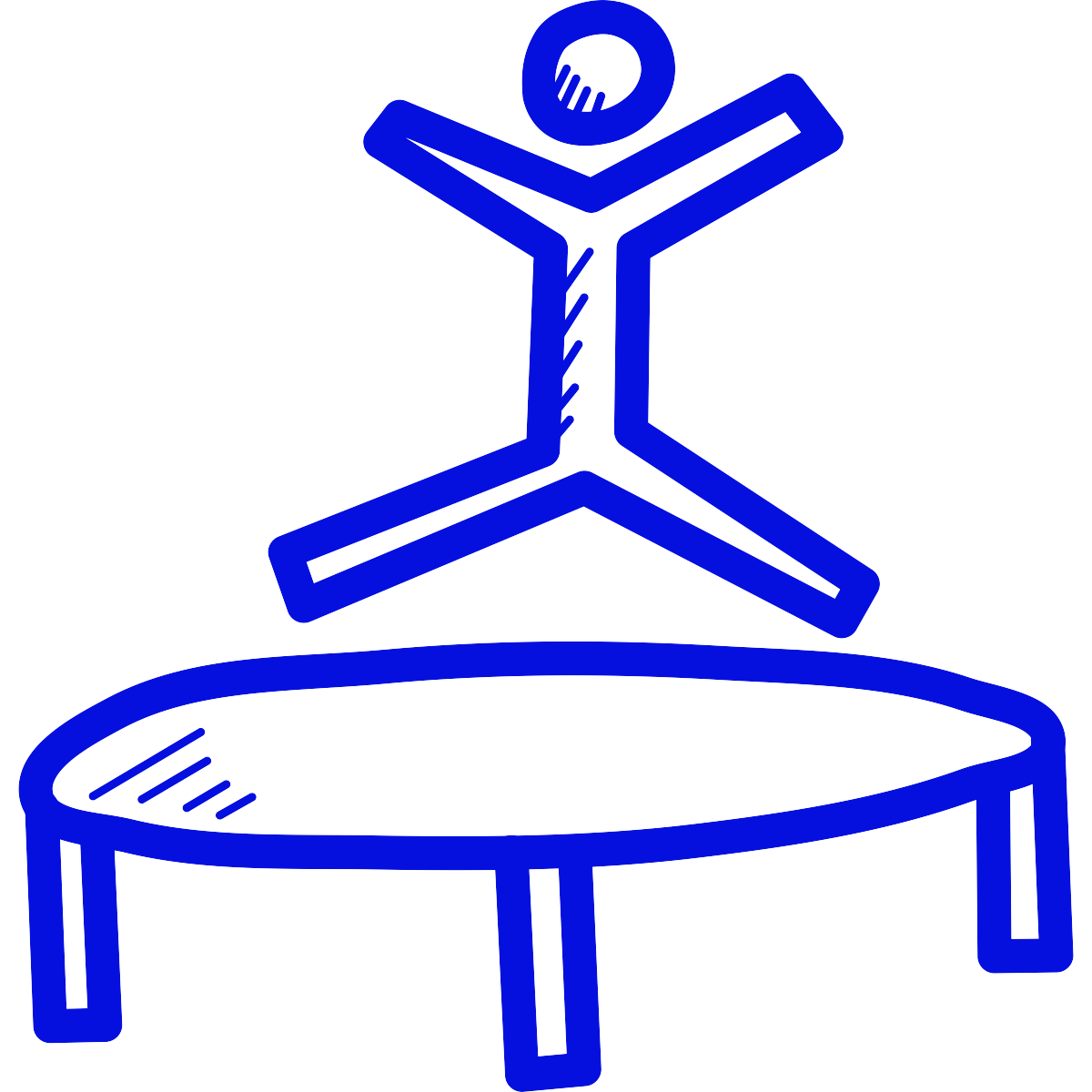 Line drawing of a person jumping on a trampoline
