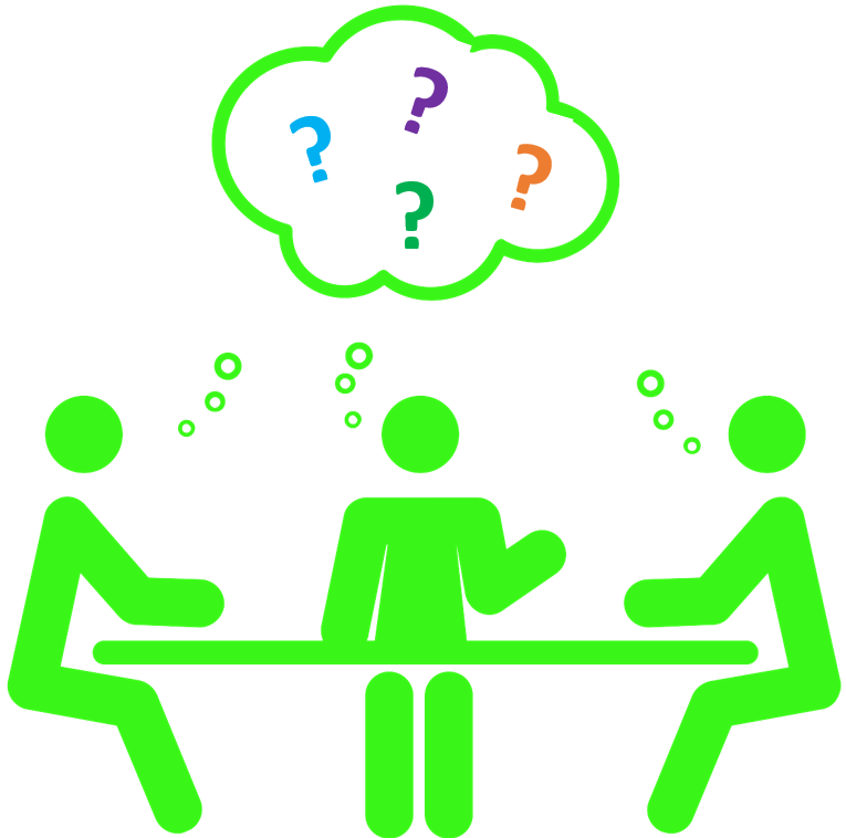 line drawing of three people sitting at a table with question marks above the table
