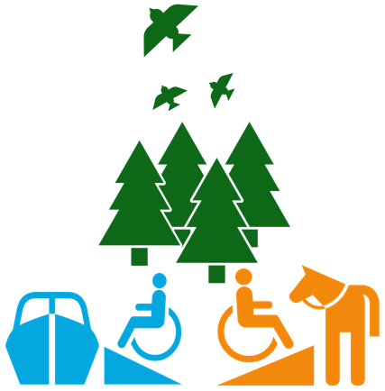 line drawing of a forest behind two people in wheelchairs -- one getting on a horse via a ramp, the other getting on a boat