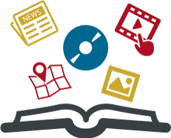 Graphic showing an open book with a map, newspaper, DVD, streaming video and picture.