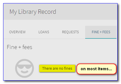 "Screen capture of a portion of a library account screen with ""There are no fines"" highlighted."
