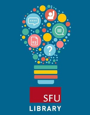 graphic of a lightbulb full of stylized communications symbols, above a logo for the SFU Library