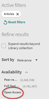 Open Access filter in SFU library catalogue