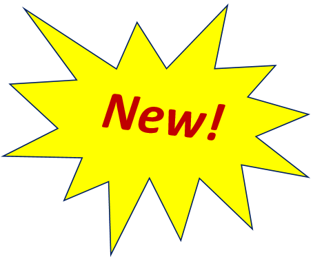 "yellow star with the word ""new!"" in the centre"