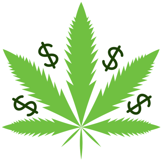 Image of a cannabis leaf with dollar signs interspersed between the leaves