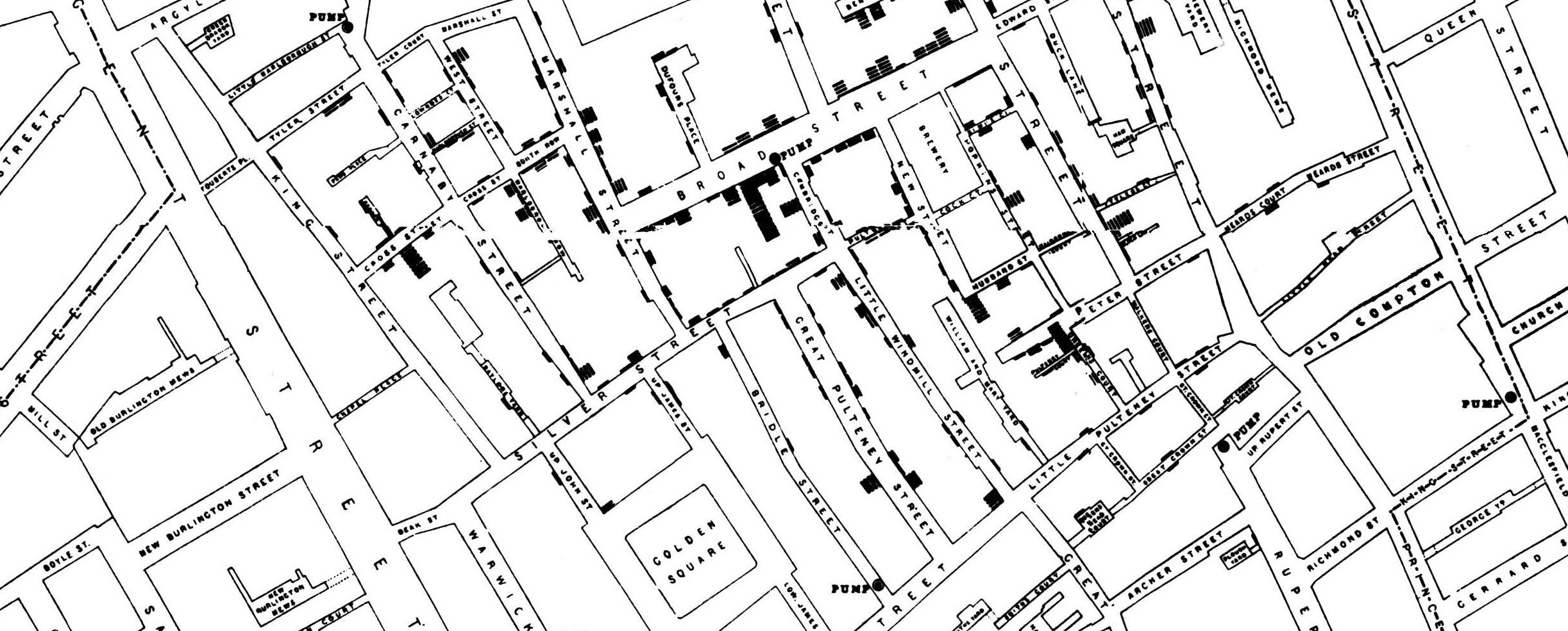 Map showing cases of cholera in the London epidemics of 1854, clustered around the locations of water pumps -- drawn by Dr. John Snow