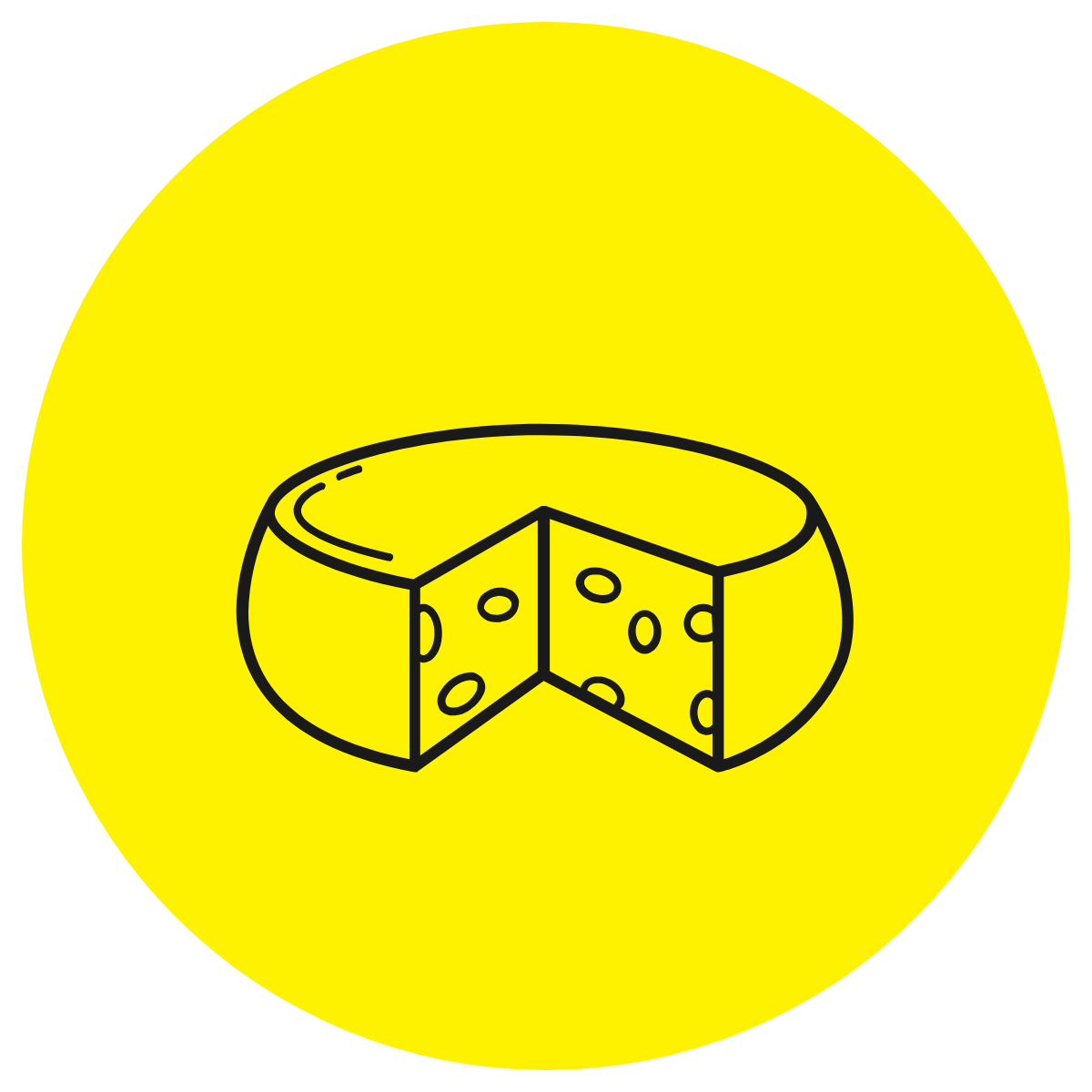 Line drawing of a block of cheese with a yellow background