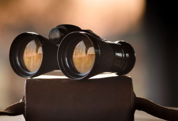 black binoculars sitting on a brown case
