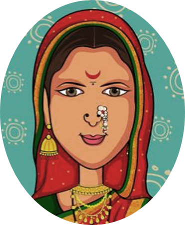 image of an Indian woman with a head scarf, bindi, and nose ring
