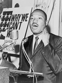 Photograph of Martin Luther King Jr giving a speech.