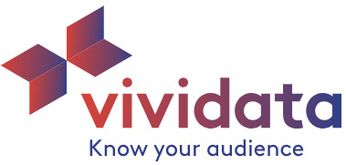 """Vividata logo with tagline of """"know your audience"""""""
