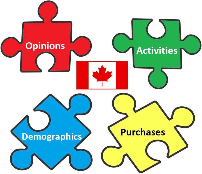 Four puzzle pieces with a Canadian flag in the middle. Puzzle pieces are labeled: Opinions, Activities, Demographics, and Purchases.