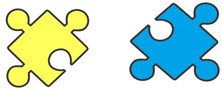 Two small puzzle pieces - showing the connection between Demographics and Purchases