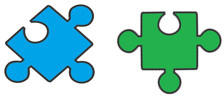 Two small puzzle pieces - showing the connection between Demographics and Activities