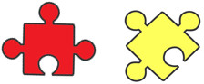 Two small puzzle pieces - showing the connection between Opinions and Purchases
